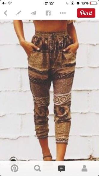 pants joggers modern aztec shirt shoes boho chic bohemian pant bohemian hippie indie bohemian pants summer pants beach pants beach top boho lace cropped heels multiprint brown blouse outfit style fashion women off the shoulder top boho pants brown pants