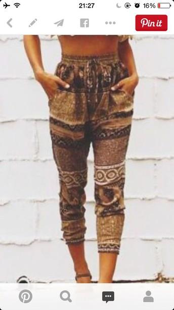 pants joggers modern aztec shirt shoes boho chic bohemian pant bohemian hippie indie bohemian pants summer pants beach pants beach top boho lace cropped heels multiprint brown blouse outfit style fashion women off the shoulder top boho pants brown pants