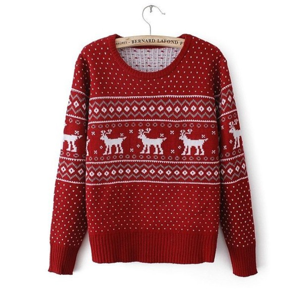 Sweater: red, deer, christmas sweater, christmas, red christmas ...