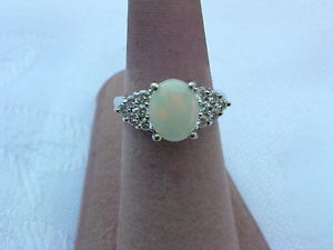 Vintage Women's 14k White Gold with Opal Diamonds Ring Size 6 3 4 | eBay