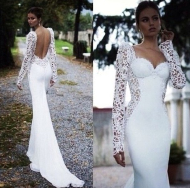 Dress, White Dress, Prom Dress, Long Prom Dress, Wedding Dress, Open Back,  Long Sleeve Dress, Dressy, Wedding Clothes   Wheretoget
