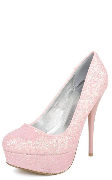 shoes pink glitter heels