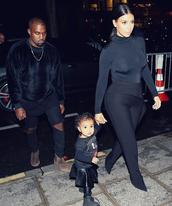 pants,turtleneck,top,kim kardashian,black,fashion week 2014,kids fashion
