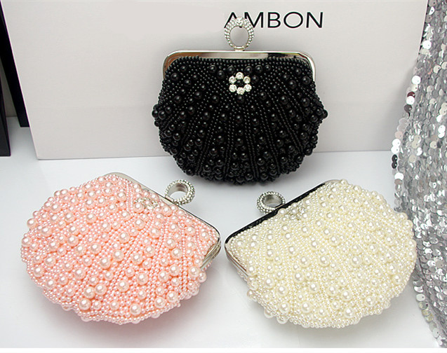 Aliexpress.com : Buy Hot Full Hand Beaded Evening Bag Pearls Diamond Mini Women Handbags Bridal Clutch Purse Wedding Party 3 Colors Chain Sac a Main from Reliable handbag insert suppliers on momofashion.