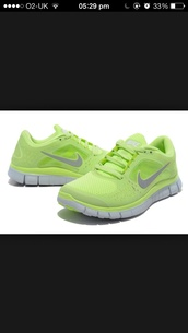 shoes,nike,nike free run,yellow,neon,fluo,tick