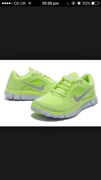 4700c4657b8c6 shoes nike nike free run yellow neon fluo tick