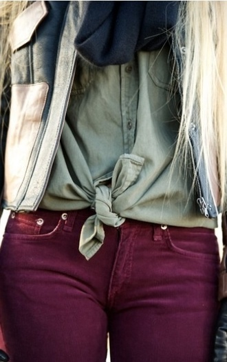 jeans blouse camo colour knot