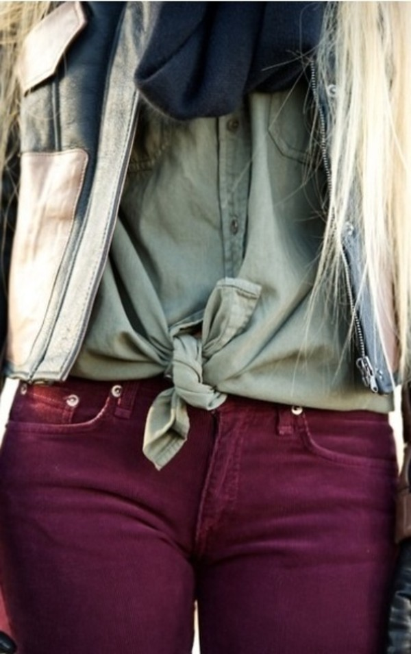 blouse camo colour knot jeans