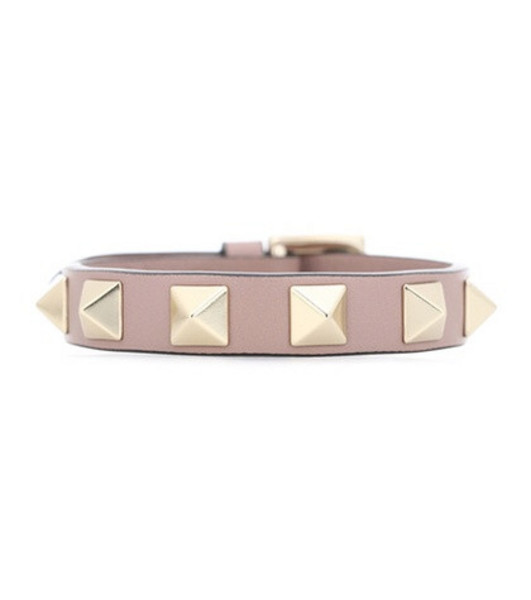 Valentino Garavani Rockstud leather bracelet in pink
