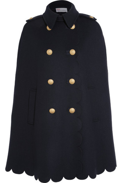 REDValentino - Scalloped Double-breasted Wool-blend Felt Cape - Midnight blue