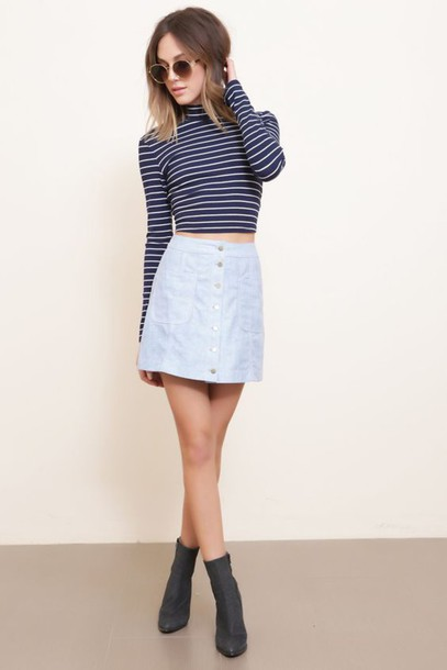 Skirt: blue suede skirt, blue skirt, suede skirt, mini skirt, top ...
