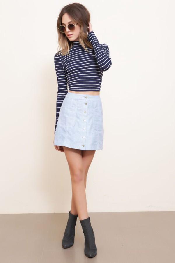 skirt blue suede skirt blue skirt suede skirt mini skirt top crop tops striped top turtleneck boots grey boots sunglasses