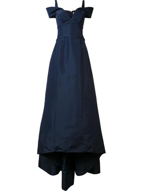 gown women ball blue silk dress