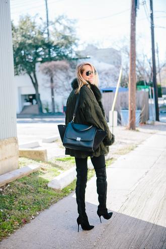 krystal schlegel blogger jacket olive green black bag