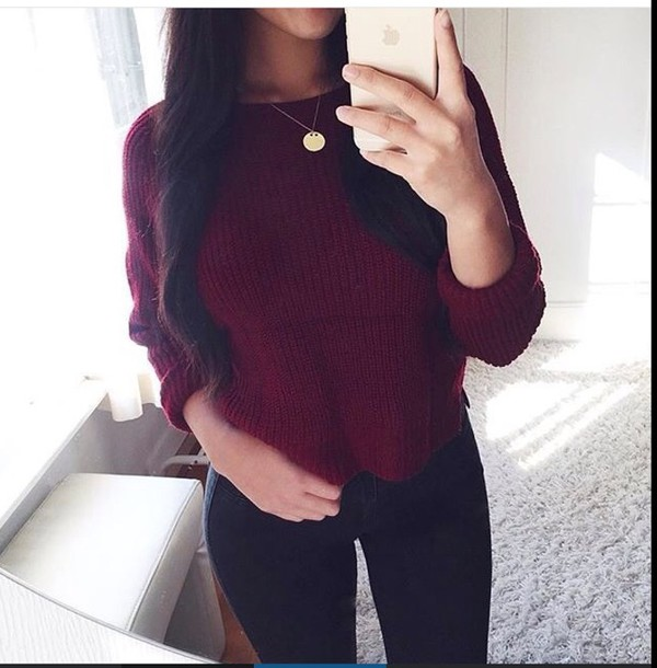 Red Batwing Long Sleeve Loose Knit Sweater -SheIn(Sheinside)