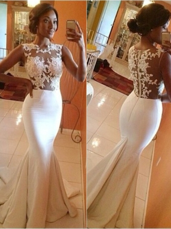 White A-line round neckline Lace Long Prom Dresses, Wedding Dress [B0073] - $198.99 : 24inshop