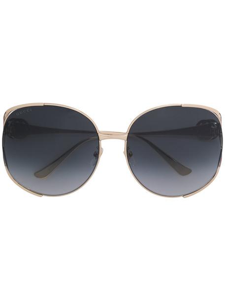Gucci Eyewear - oversized round frame sunglasses - women - metal - 63, Grey, metal in metallic