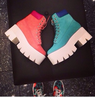 shoes blue/pink shoes jessie j light blue or light pink chunky cleated boots