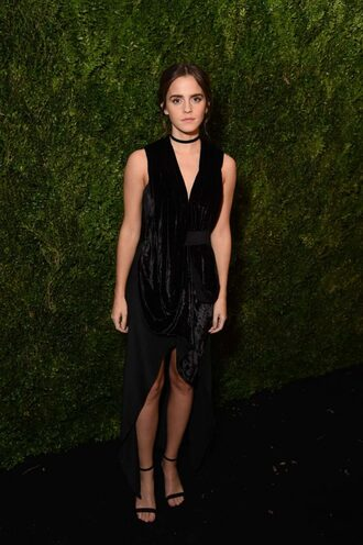 dress velvet velvet dress asymmetrical dress sandals emma watson shoes