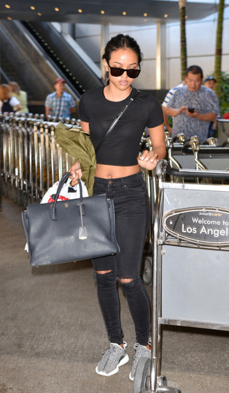 jeans karrueche sneakers crop tops sunglasses