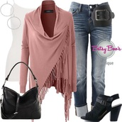cardigan,fringes,ootd,ootn,chic,style,trendy,women,fashion,denim,belt,jewelry,shoes,earrings,handbag,purse,mauve