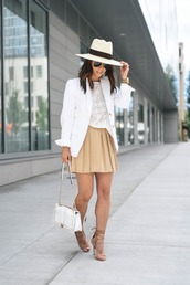 crystalin marie,blogger,hat,bag,jewels,white hat,nude skirt,beige skirt,white top,lace top,mini skirt,blazer,white bag,lace up heels,lace up,nude heels,suede heels,eyelet top