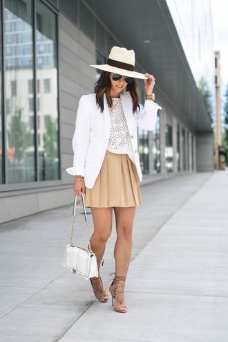 crystalin marie blogger hat bag jewels white hat nude skirt beige skirt white top lace top mini skirt blazer white bag lace up heels lace up nude heels suede heels eyelet top