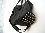 bag,black,studded,studs,silver,leather,studded bag