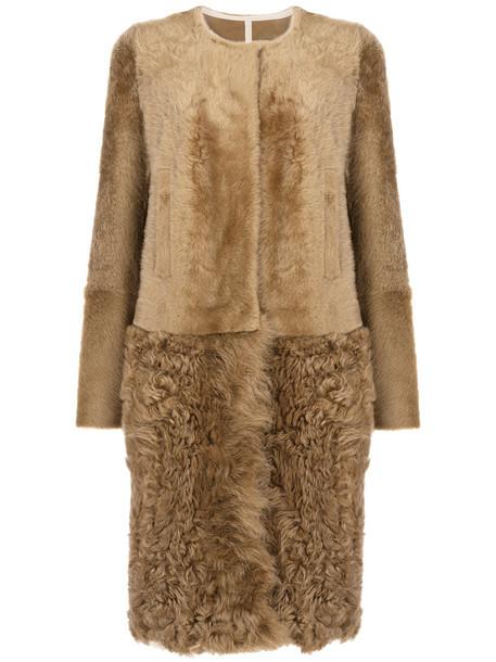 Yves Salomon coat fur women brown