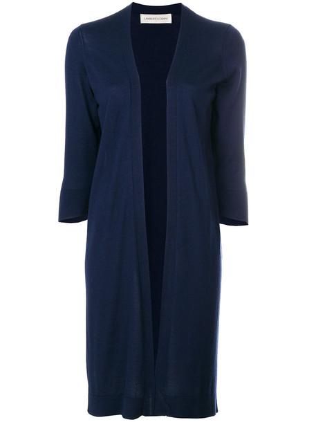 Lamberto Losani cardigan cardigan long open women blue silk wool sweater