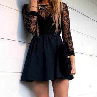 dress lace dress skater dress blue dress cute dress