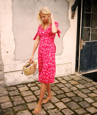 dress rouje red dress floral dress summer dress summer outfits midi dress bag straw bag sandals flat sandals nude sandals french girl style rouje.com