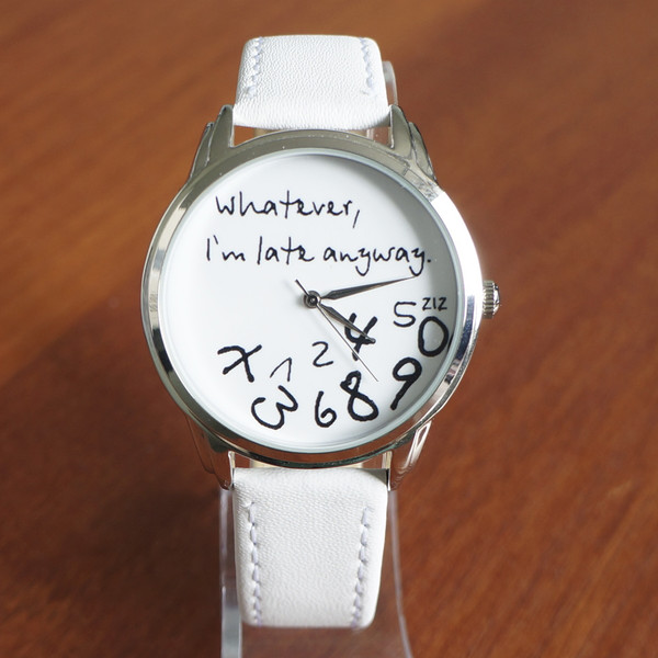 jewels leather watch white unusual watch unique watch funny watch cool watch designer watch original watch whatever whatever i'm late anyway whatever i'm late anyway watch ziziztime ziz watch