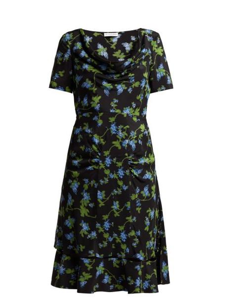 Altuzarra - Lucia Floral Print Silk Crepe Dress - Womens - Black Multi