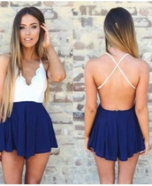 romper,peppermayo blue and white,jumpsuit