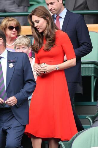 dress red kate middleton red dress midi dress