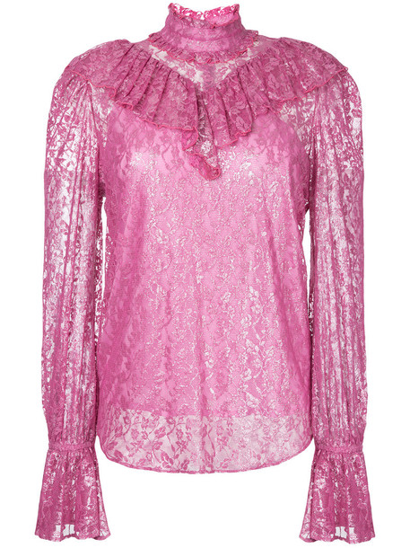 G.V.G.V. blouse high ruffle women high neck lace cotton purple pink top