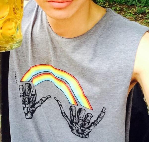 t-shirt double rainbow grey rainbow hang loose skeleton hands skeleton bones calum hood vans