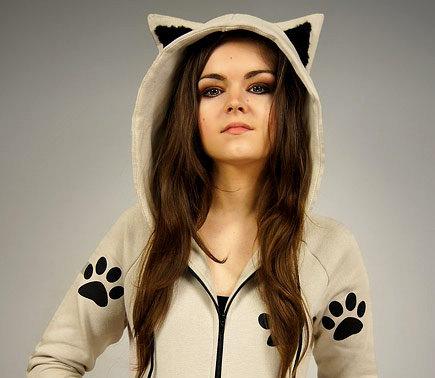 Cat hoodie Ears kitty paws kawaii beige von PaperCatsPL auf Etsy