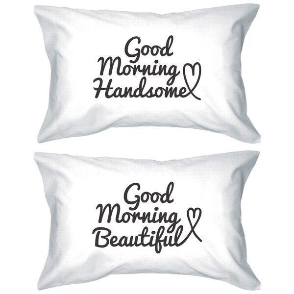 pajamas matching couples good morning beautiful good morning handsome his and hers pillowcases pillow his and hers pillows anniversary gift wedding gift gift ideas gift ideas
