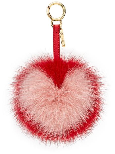Fendi bag charm pompom bag fur fox women bag purple pink