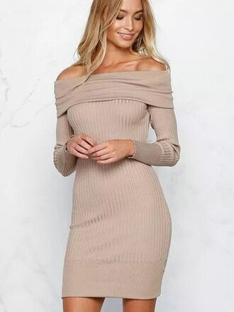 dress chiclook closet bodycon dress cream beige off the shoulder mini dress girly fashion style knitwear