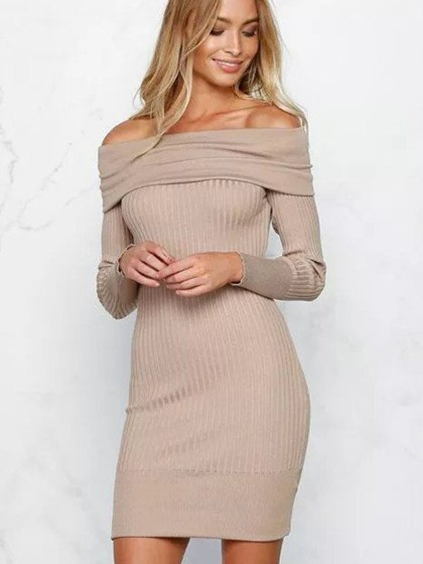 Khaki Off Shoulder Long Sleeve Rib Knitted Bodycon Dress