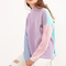 Color block funnel neck eye embroidered sweater -shein(sheinside)