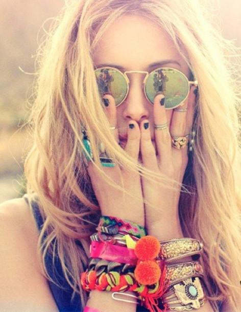 sunglasses round sunglasses jewels bracelets