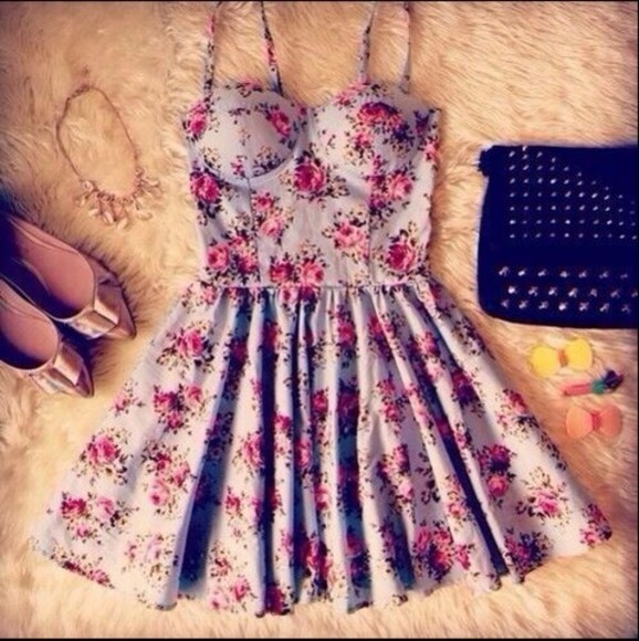 skirt floral dress blue cute bralet sweet