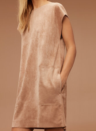 dress tan suede long tank dress aritzia camel