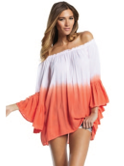 Elan International Off-The-Shoulder Ruffle Top in Coral Ombre