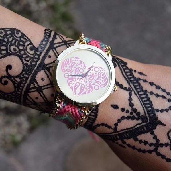 Mehndi Wrist Watch : Jewels cherry diva boho bohemian henna heart watch