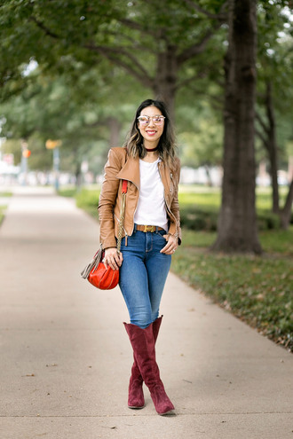 styleofsam blogger shoes jeans t-shirt jacket dress top spring outfits brown jacket leather jacket shoulder bag knee high boots orange bag